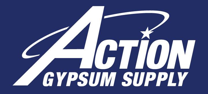 Action Gypsum Supply Logo White on Blue