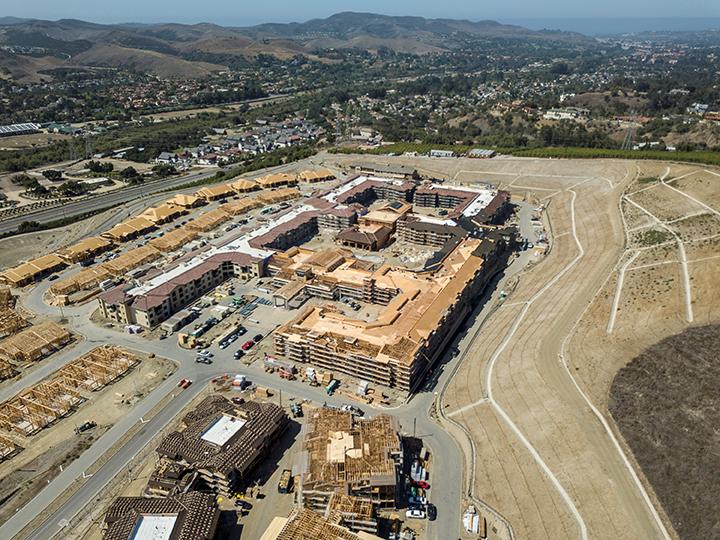 Overhead Drone Construction Site