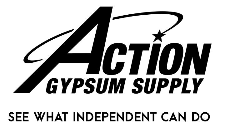 Action Gypsum Supply Logo with Tagline Black