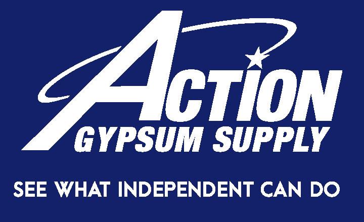 Action Gypsum Supply Logo White on Blue with Tagline
