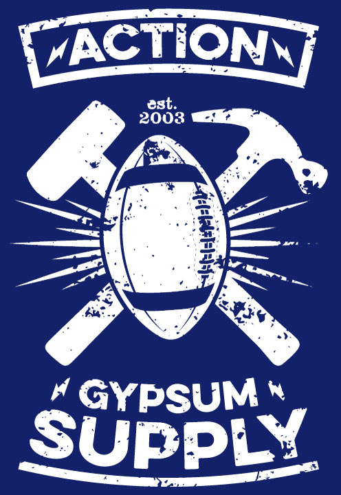 Action Gypsum Supply Touchdown Graphic White with Blue Background